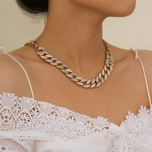 Cuban Link Chain Choker for Women Golden